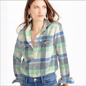J. Crew pacey plaid flannel button down top sz 6p